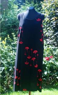 Tunique en rayonne-motif coquelicots